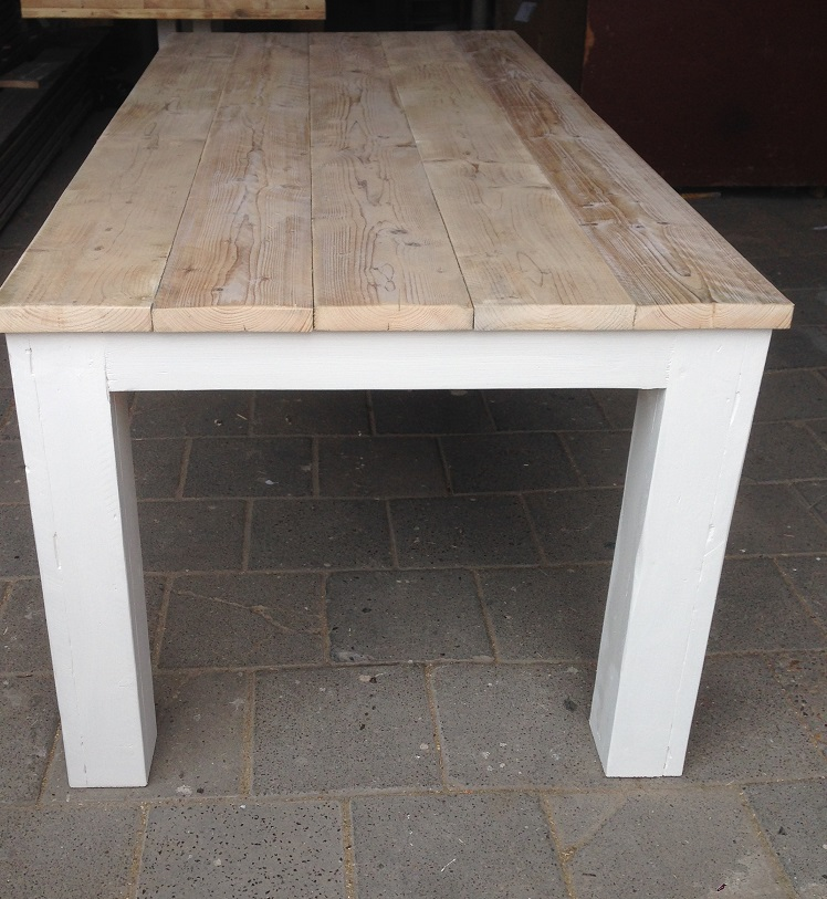 Eettafel stoer landelijk steigerhout 100 cm breed for Stoer landelijk