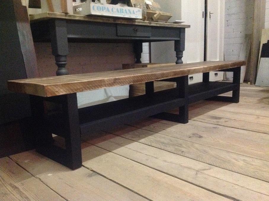 Super Tv meubel hout soft black/noten blad. – Hillshome | Steigerhouten #QT64