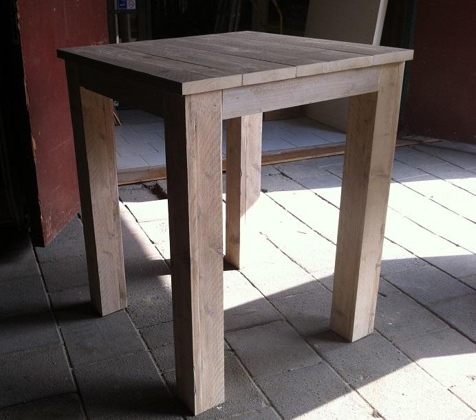 """Uitgelezene Hoge tafel """"Jurre"""" steigerhout onbehandeld 90 cm breed HK-01"""