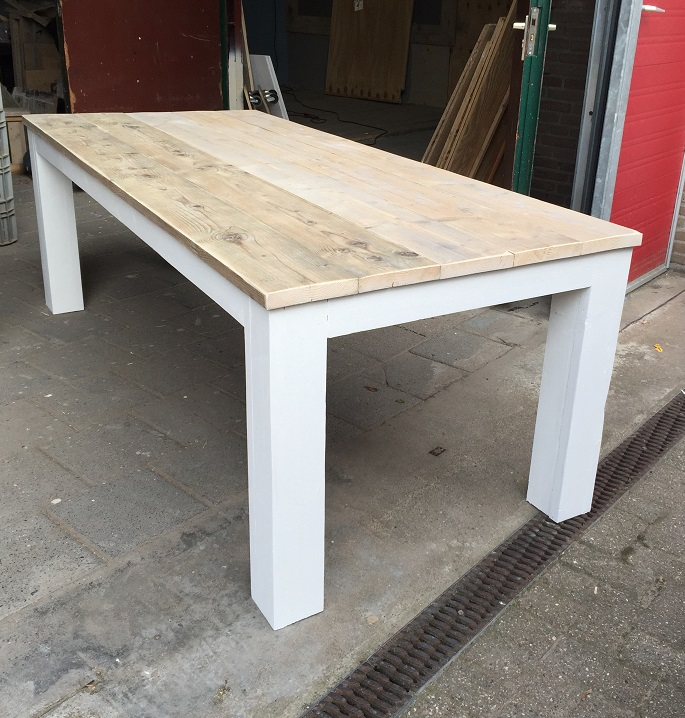 Eettafel stoer steigerhout landelijk 90 cm breed for Stoer landelijk
