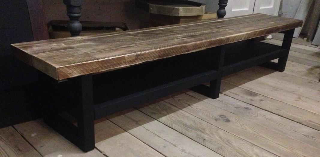 Tv meubel hout soft black/noten blad. | Hillshome ...