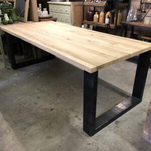 tafel eiken boomstamrand 220x100 4cm dik