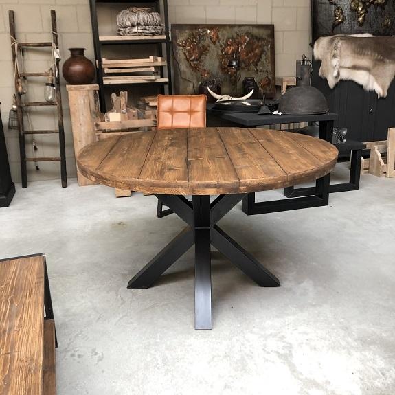 Betere Ronde tafel met dubbel blad notenkleur stalen matrixpoot YL-47