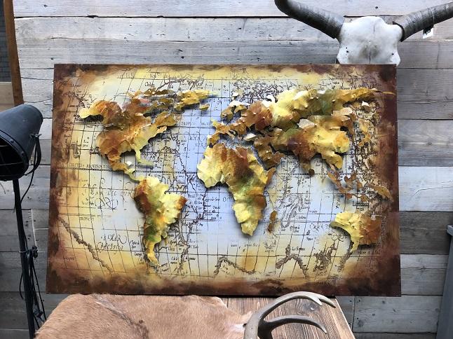 3d Schilderij Metaal.Schilderij Metaal 3d Beige Bruin Wereldkaart