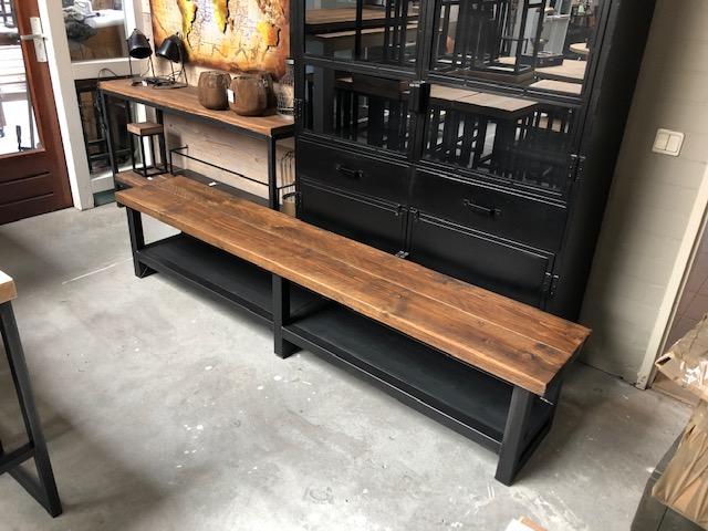 """Nieuw Tv meubel """"Eefje"""" industrieel balkenblad 5cm staal – Hillshome AO-93"""